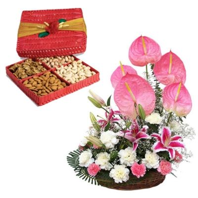 Exotic Flowers Basket with Dry Fruit