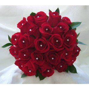 24 red rose with pearls bunch
