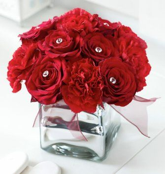 Red and Pearl Cube Vase