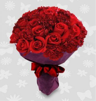 12 red roses and 12 red carnations bouquet
