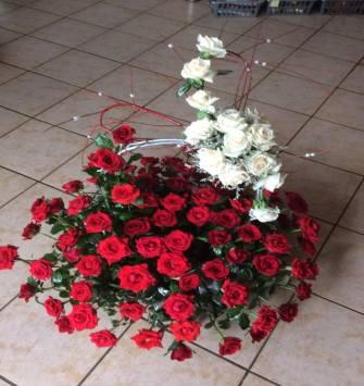 100 rose and 20 white rose basket