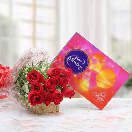 10 Red Roses with Cadbury Celebration Chocolate Box