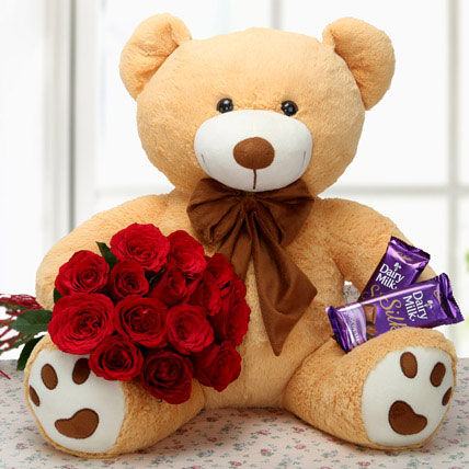 15 Red Roses Bunch with 20 inch Teddy and 2 Dairy Milk Silk Chocolates