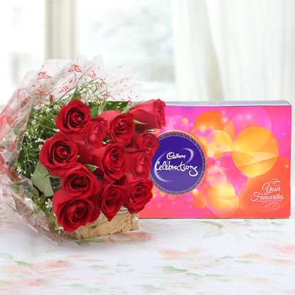 10 Red Roses Bunch with Cadbury Celebration Box