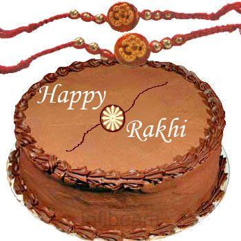 Rakhis with Half Kg Chocolate Cake C1660