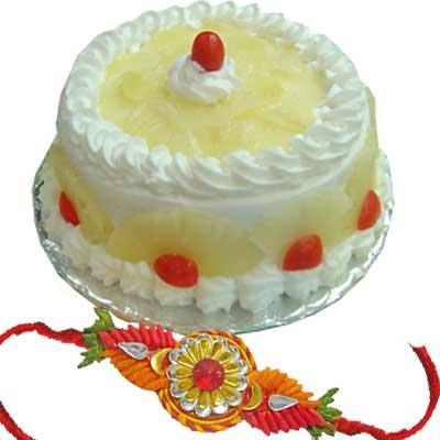 Rakhi 1 Kg Pineapple Cake C1659
