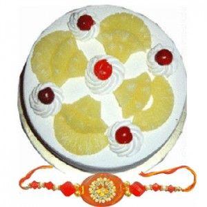 Rakhi with Half Kg Pineapple Cake C1656