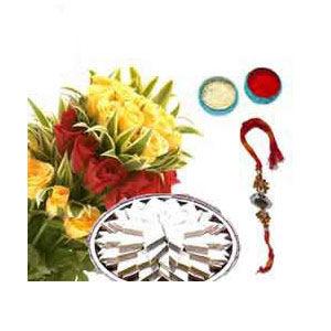 Rakhi Pack Roses N Sweets C1128