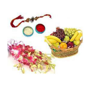 Rakhi with Flowers and Fruits Pack C1124