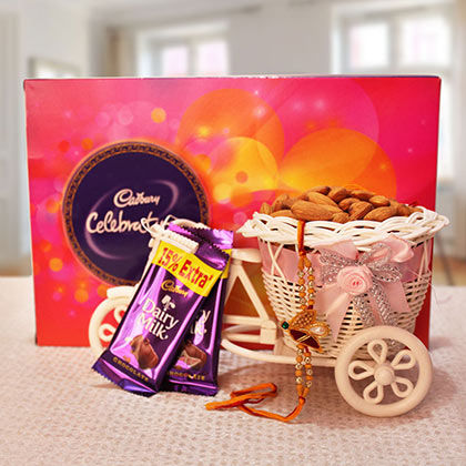 Rakhi with Cadbury Celebration Box & 100gm Badam in Bicycle and 2 Dairy Milk Chocolates
