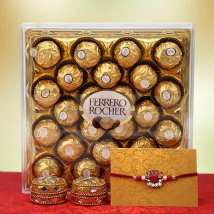 Rakhi with Swiss Chocolate Box