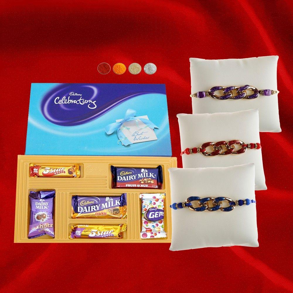 3 Pcs Designer Rakhis with Cadbury Celebration Box