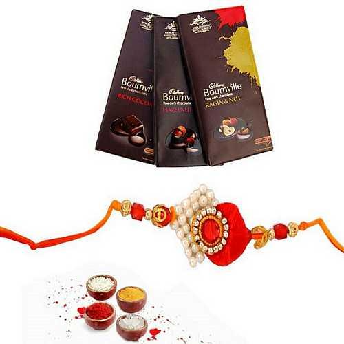 3 Bournville Chocolates bar with Designer Rakhi