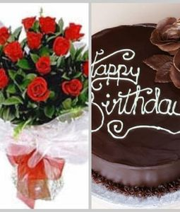 rose posy and cake for Delhi