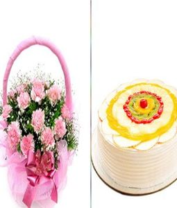 carnation flowers with fruit cake