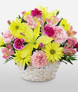 Lily, Roses, Carnation Round Basket