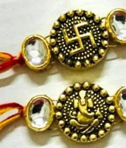 Swastik and Ganesha Rakhi Pair