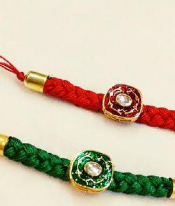 Pair of Green and Red Rakhis