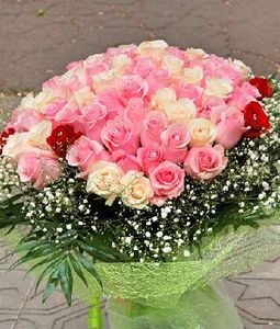 Pink, White and Red Roses Bunch