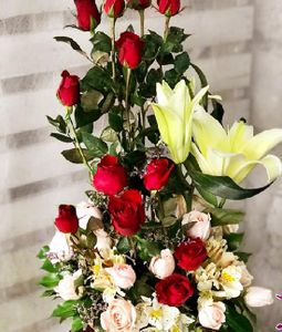 24 Light Pink and Red Roses Basket