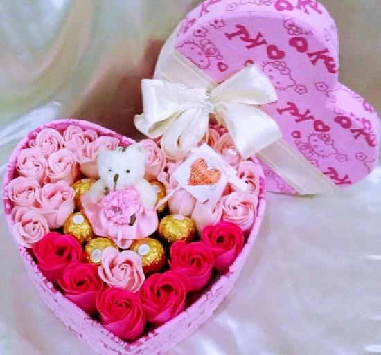 Heart Box Arrangement with 30 Roses