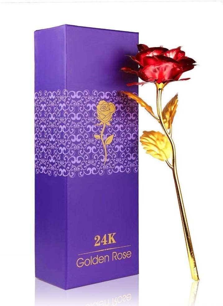 Red Rose (Artificial) 24k Gold Plated with Exclusive Gift Box