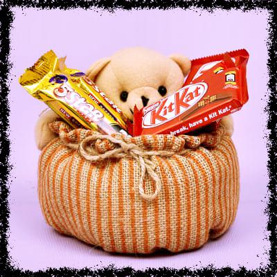 Chocolate Gift Pack with Teddy Basket