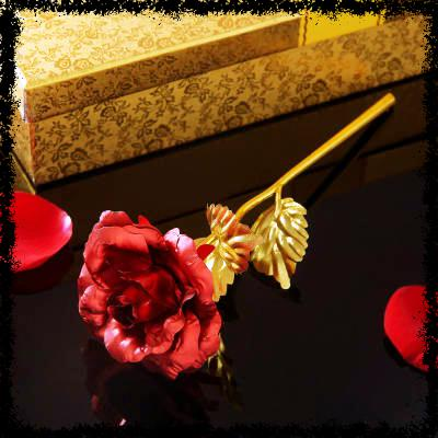 Gold Plated Red Rose