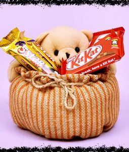Teddy Basket with Kitkat and Five Star Chocolates