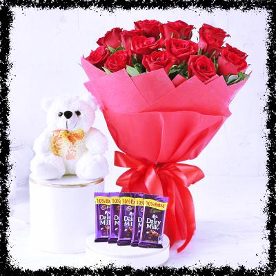 Dozen Roses Bunch with 5 Dairy Milk and Teddy Bear