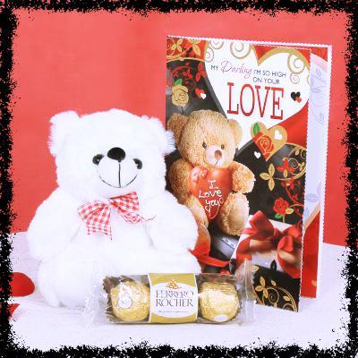 Gift Hamper of Teddy 3 Ferrero and Valentine Card