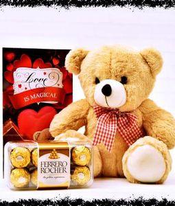 Valentine Combo of Card, Teddy and Ferrero Chocolates