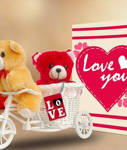 Valentine Key Ring, Card and Two Teddies in a Bicycle