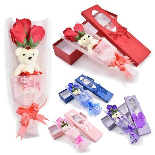 3 Roses and Teddy Bear Valentine Gift