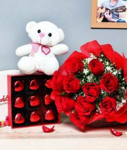 10 Red Roses Bunch, Teddy and 9 Heart Chocolates