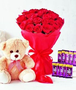 Bouquet of 20 Roses, Teddy Bear and 10 Chocolates