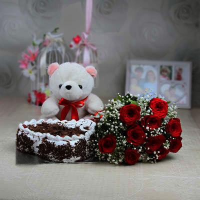 10 Red Roses Bunch, 1 Teddy and Heart Shape Valentine Cake