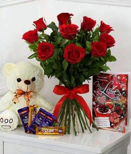 10 Red Roses Bunch with Valentine Card, Assorted Chocolates and Cute Teddy Bear