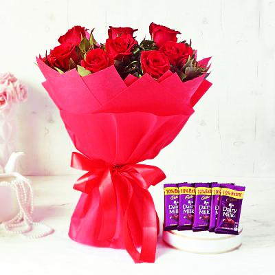 10 Red Roses Bunch with 5 Dairy Milk Chocolates