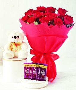 12 Red Roses Bunch, Teddy and 5 Dairy Milk Chocolates