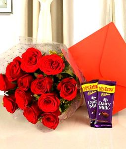 12 Red Roses Bunch, 2 Dairy Milk and Valentine Card