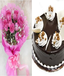 Beautiful Birthday Gift Pink Roses and Cake