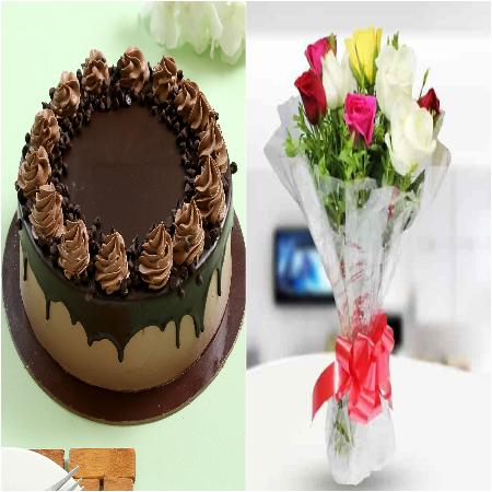 500g Chocolate Cake with 8 Mix Colour Roses Bunch