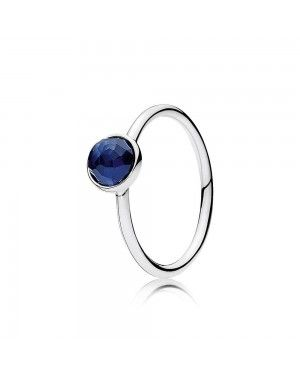 Pandora September Droplet Ring, Synthetic Sapphire 191012SSA