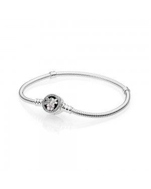 Pandora Moments Silver Bracelet With Poetic Blooms Clasp 590744CZ