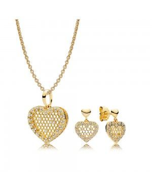 Pandora Honeycomb Lace Necklace And Earring Set GS0108