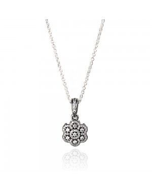 PANDORA Ice Floral Moon and Stars Necklace JSP0070 With CZ