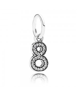 PANDORA Number 8 Dropper Pendant JSP0969 With Cubic Zirconia In Silver