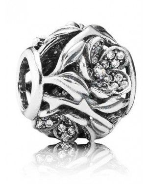 PANDORA Open Floral Floral Charm JSP1046 With Cubic Zirconia In Silver