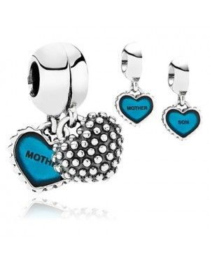 PANDORA Mother And Son Heart Blue Family Charm JSP1042 In Enamel